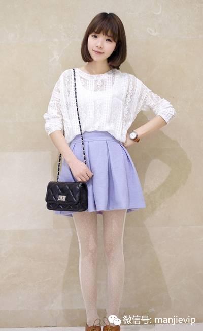 白色雷丝衫搭配淡紫色,简单干净又大方,会给人文静淑女的感觉-穿图片